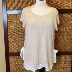 Pebble and stone tan/cream layered blouse Large